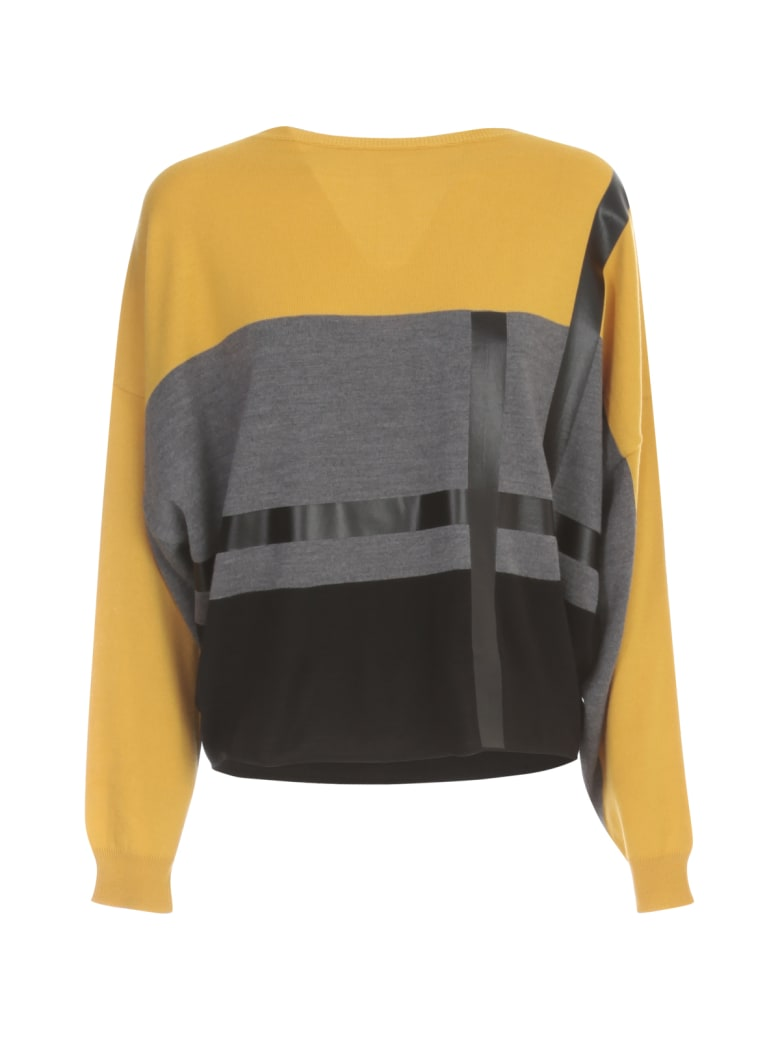 PierAntonioGaspari Short Boat Neck Sweater Tricolour - Mimosa Nero