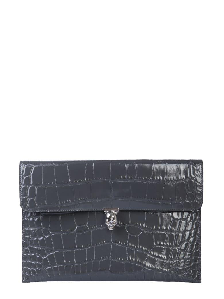 Alexander McQueen Turnlock Skull Pouch - GRIGIO