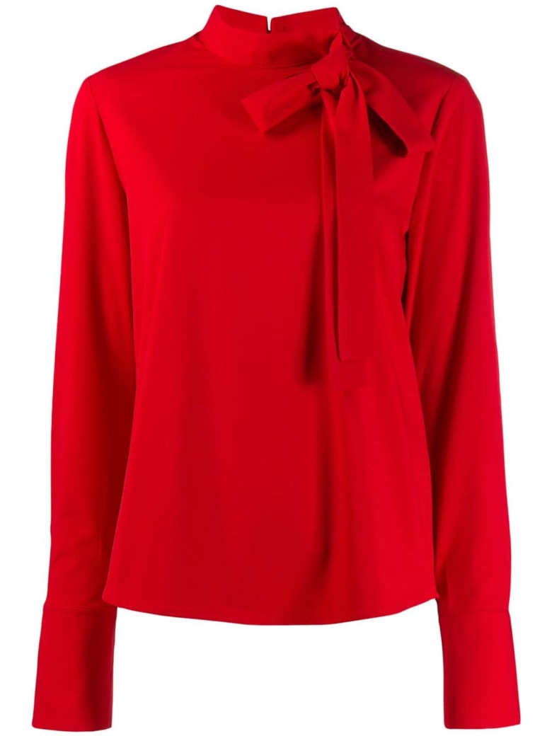 Be Blumarine L/s Bow Blouse - Rosso