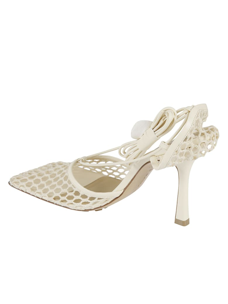 Bottega Veneta Stretch Web Sandals - Cream