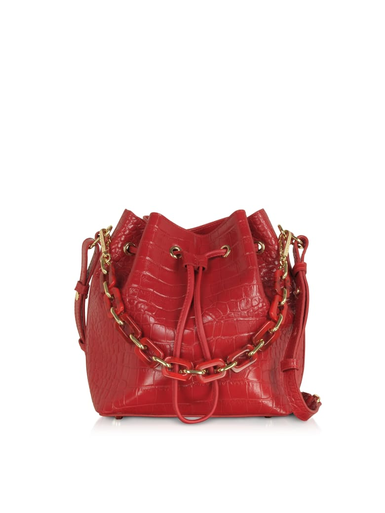 Lancaster Paris Exotic Croco Embossed Leather Bucket Bag - Red