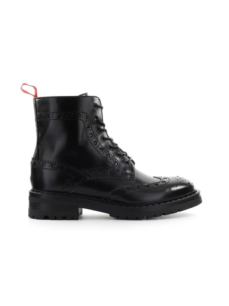 Barracuda Black Leather Combat Boot - Nero (Black)