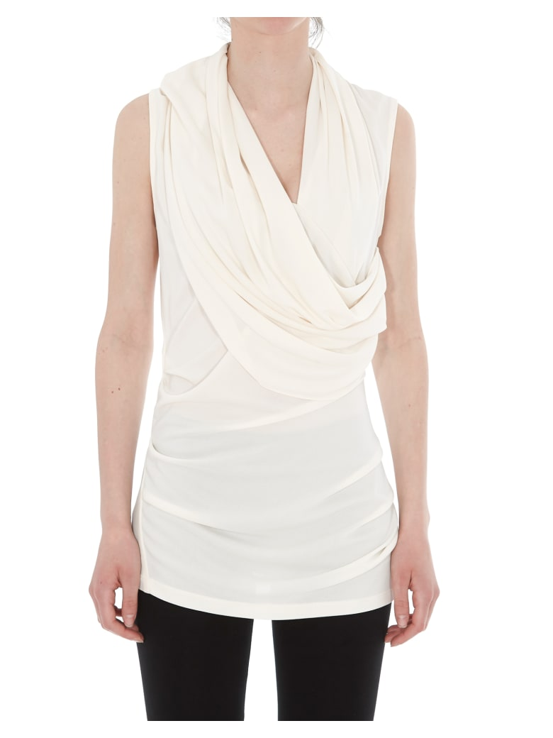 Lanvin Draped Jersey Top - Cream