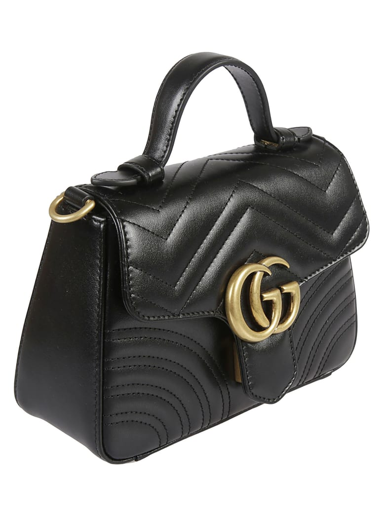 Gucci Logo Plaque Quilted Tote - Black