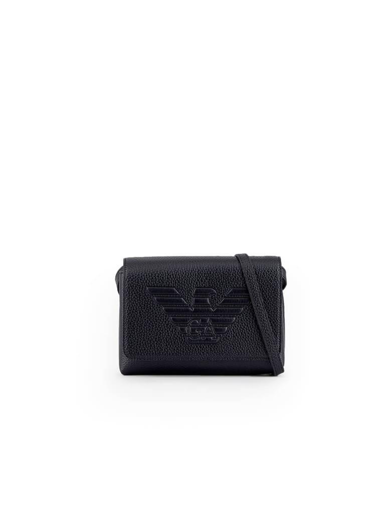 Emporio Armani Maxi Logo Black Shoulder Bag - Nero (Black)