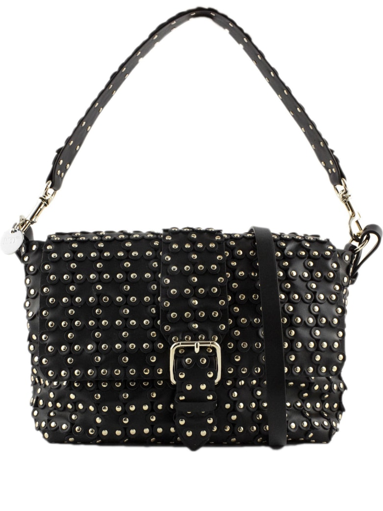 RED Valentino Black Leather Flower Puzzle Bag - Nero