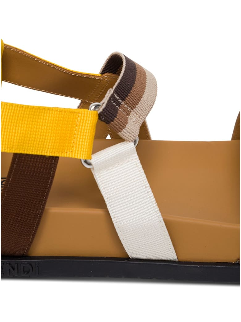 Fendi Ff Leather And Fabric Sandals - Brown