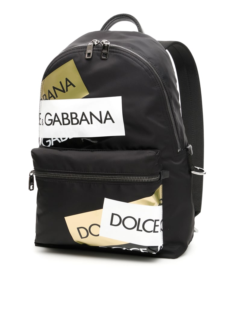 Dolce & Gabbana Nylon Logo Tape Backpack - NERO MULTICOLOR (Black)