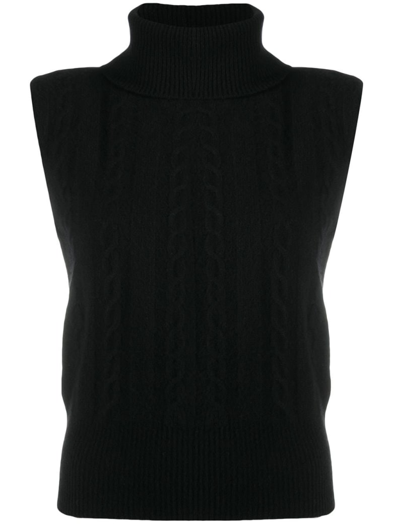 Federica Tosi Cable Knitted Sleeveless Jumper - Black