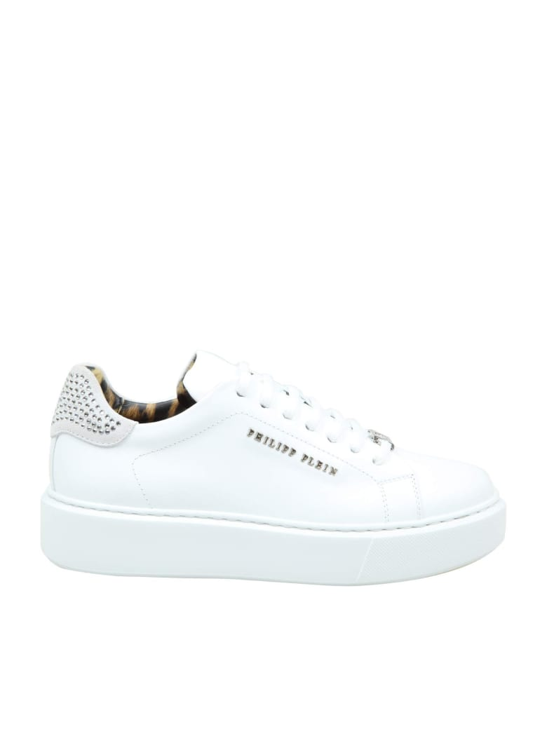 Philipp Plein Sneaker Lo-top In Leather With Crystal Inserts - WHITE