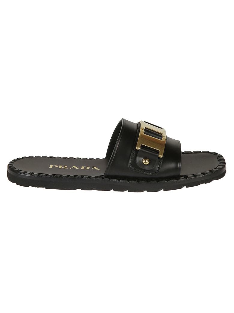 Prada Gold Metallic Detail Sliders - Black