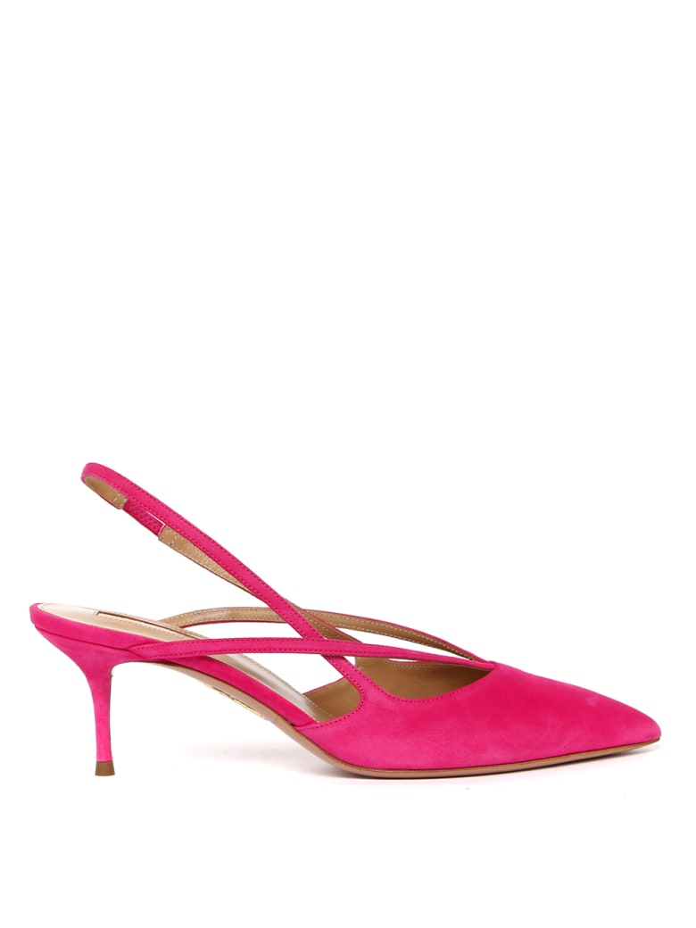 Aquazzura Soul Pink Suede Leather Slingback - Pink