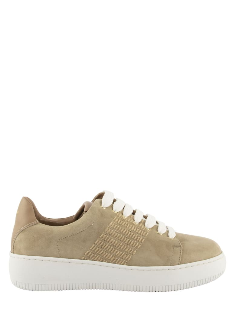 Agnona Suede Calf Leather Sneakers With Mohair Stitching - Camel