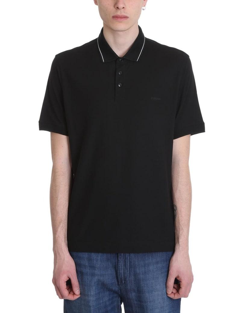 Ermenegildo Zegna Black Cotton Polo - black