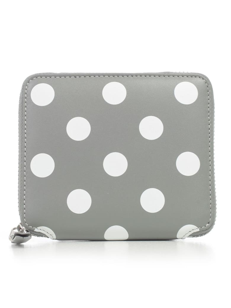 Comme des Garçons Wallet Wallet Medium Dots Printed Leather Line - Grey