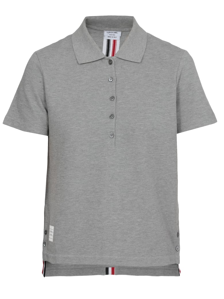 Thom Browne Cotton Polo Shirt - Light grey