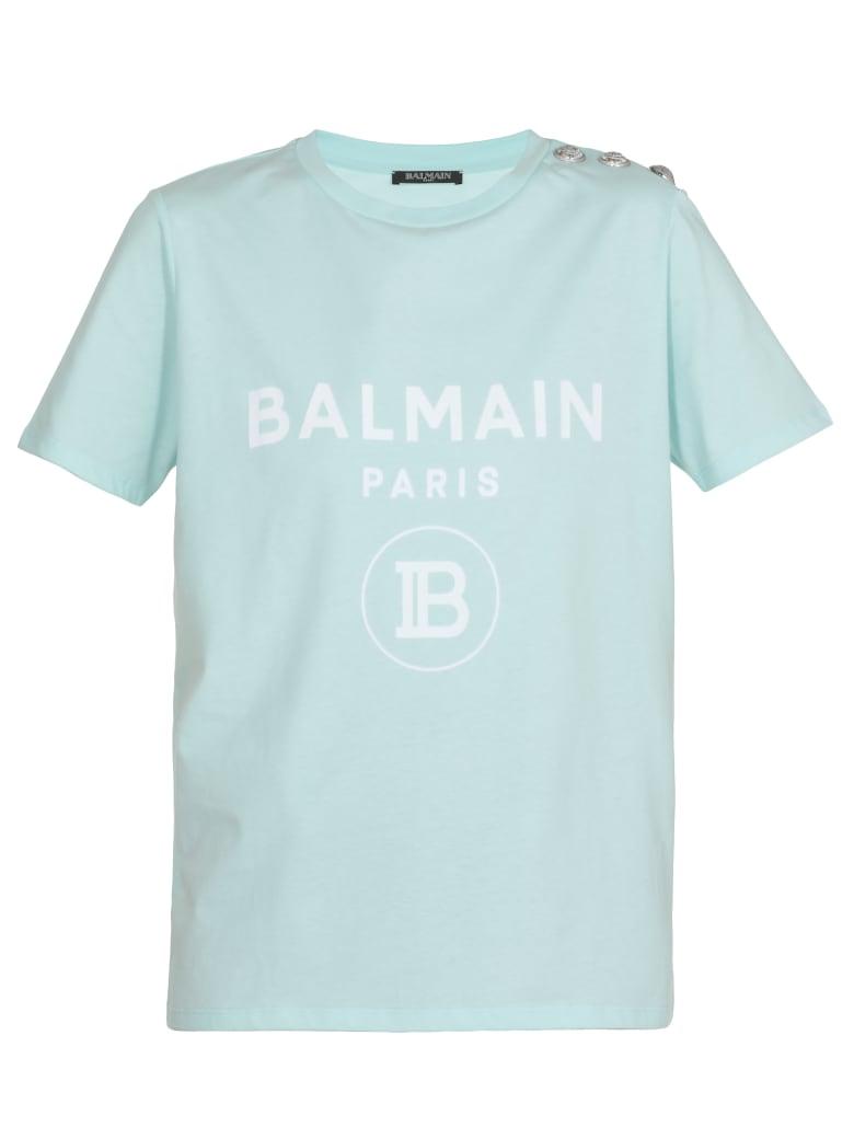 Balmain Logo T-shirt - Vert d eau/blanc