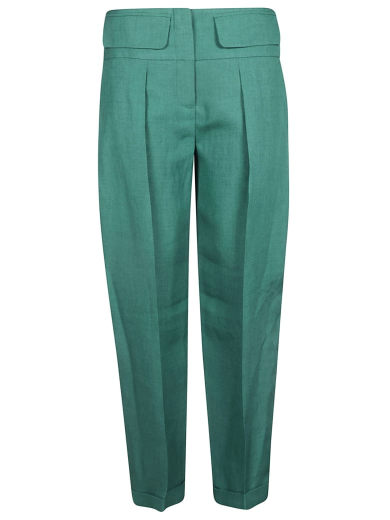 Victoria Beckham Pleated Crepe Trousers - green