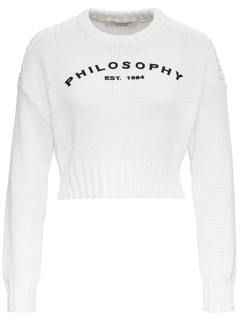 Philosophy di Lorenzo Serafini Cotton Blend Short Sweater With Logo - White