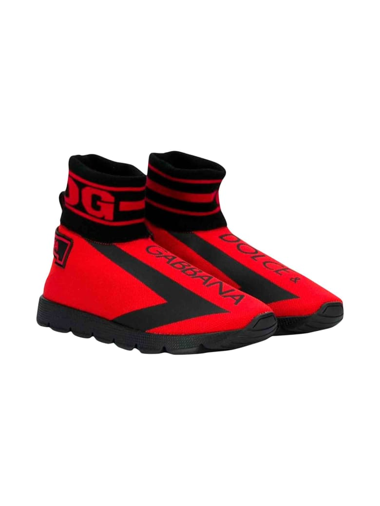 """Dolce & Gabbana Red """"socks"""" Shoes Dolce And Gabbana Kids - Rosso/nero"""