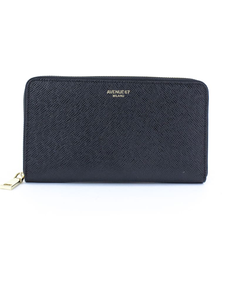 Avenue 67 Black Leather Wallet - Nero