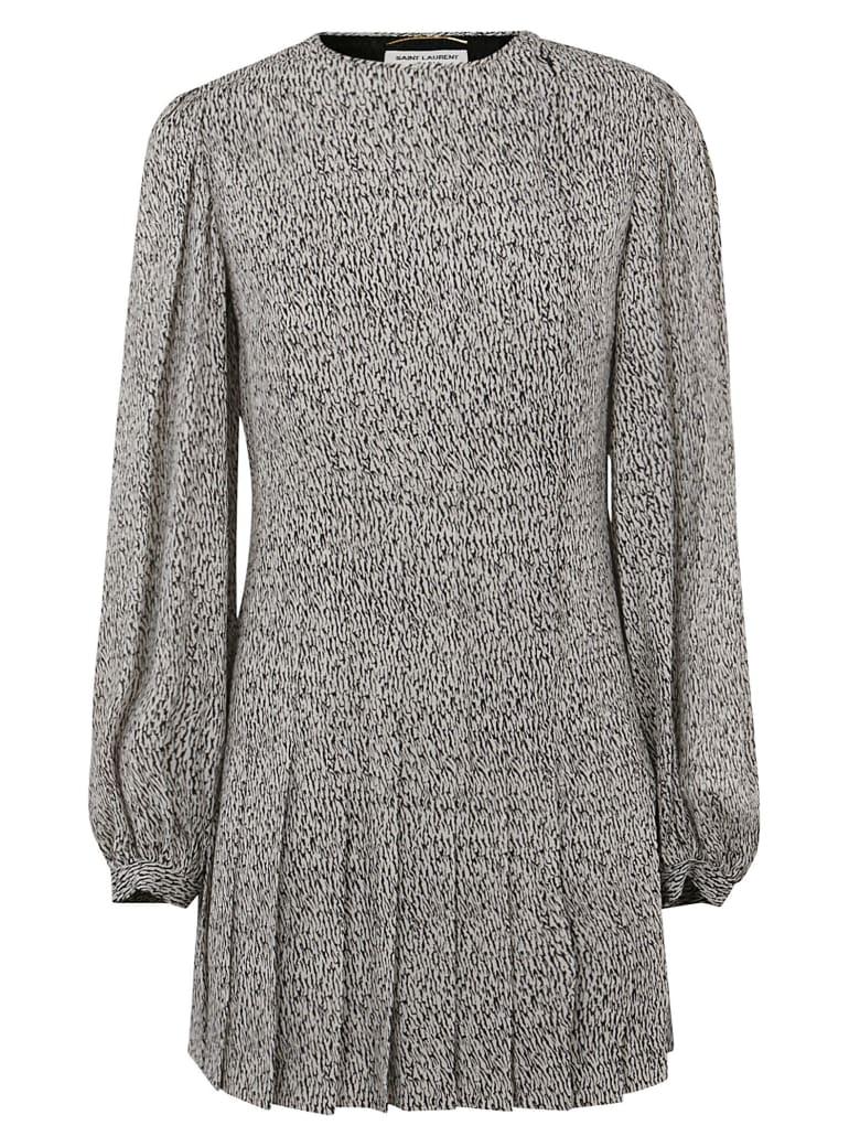 Saint Laurent All-over Printed Dress - Plaster/Black