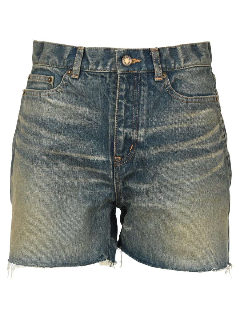 Saint Laurent Raw-edge Denim Shorts - BLUE DIRTY