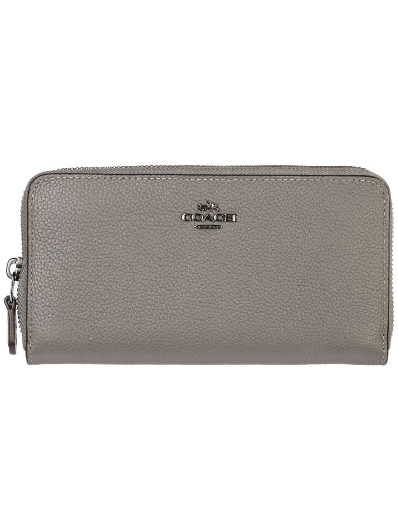 Coach  Wallet Genuine Leather Coin Case Holder Purse Card Bifold - Heather Grey