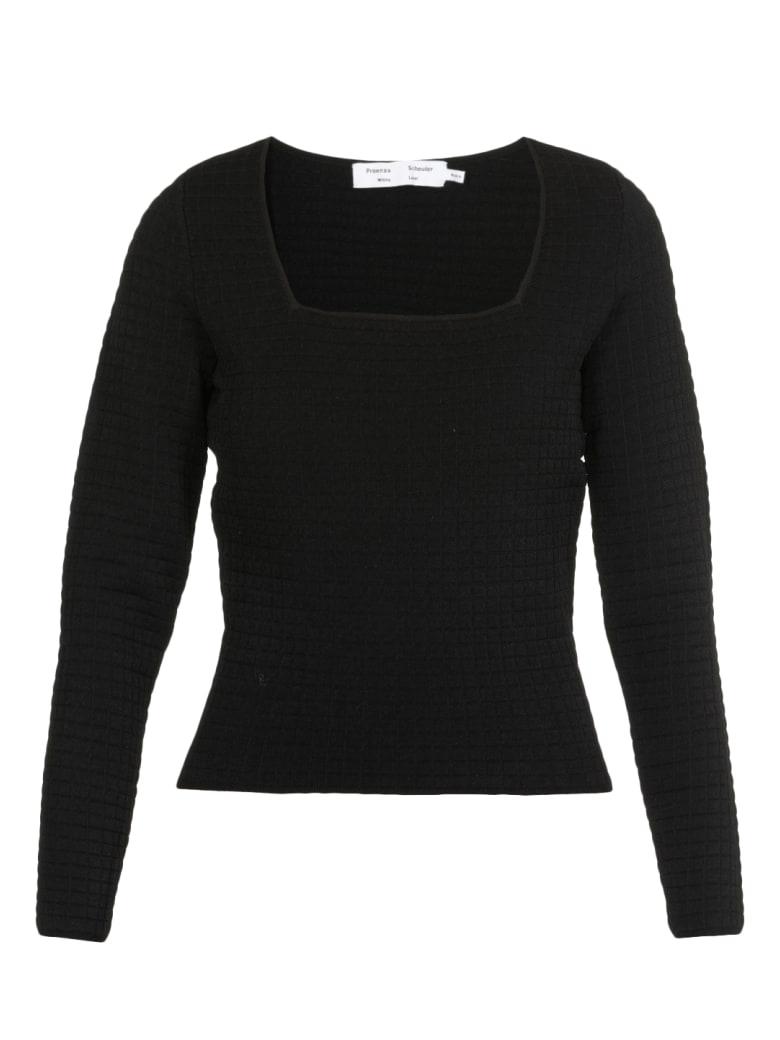 Proenza Schouler Quilted Viscose Sweater - BLACK