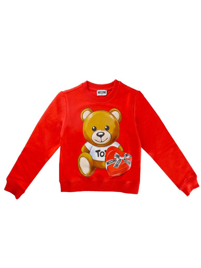Moschino Round Neck Sweatshirt With Red Bear Print - Red