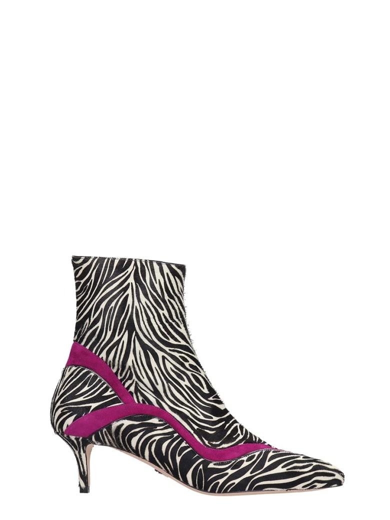 Paula Cademartori High Heels Ankle Boots In Animalier Pony Skin - Animalier