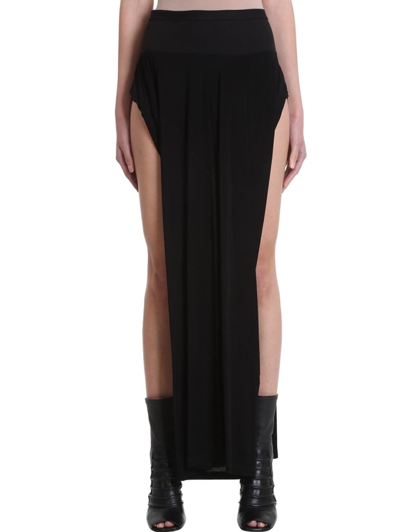 Rick Owens Lilies Black Viscose Skirt - black