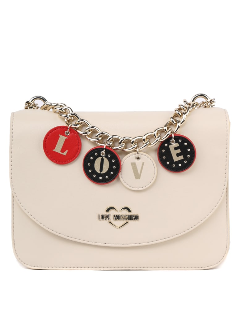 Love Moschino Lovely Charm Faux Leather Shoulder Bag - Nude