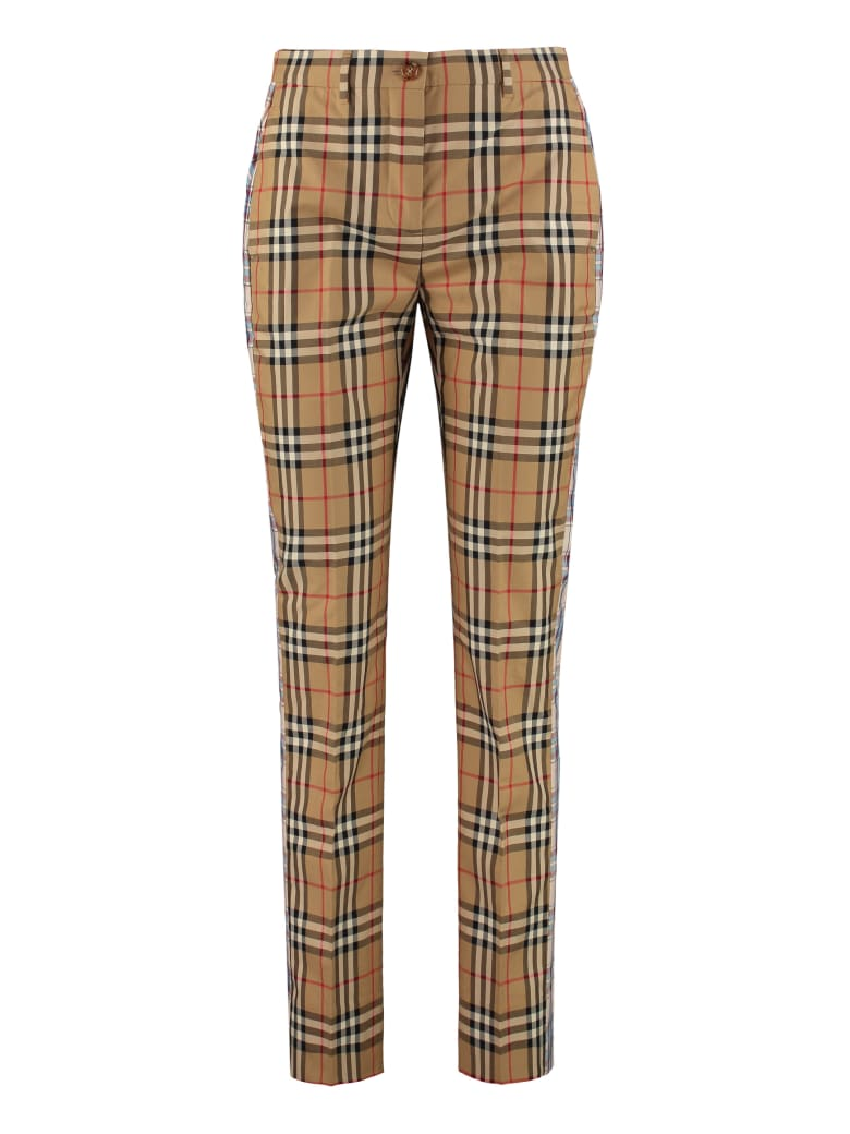 Burberry Checked Cotton Trousers - Beige