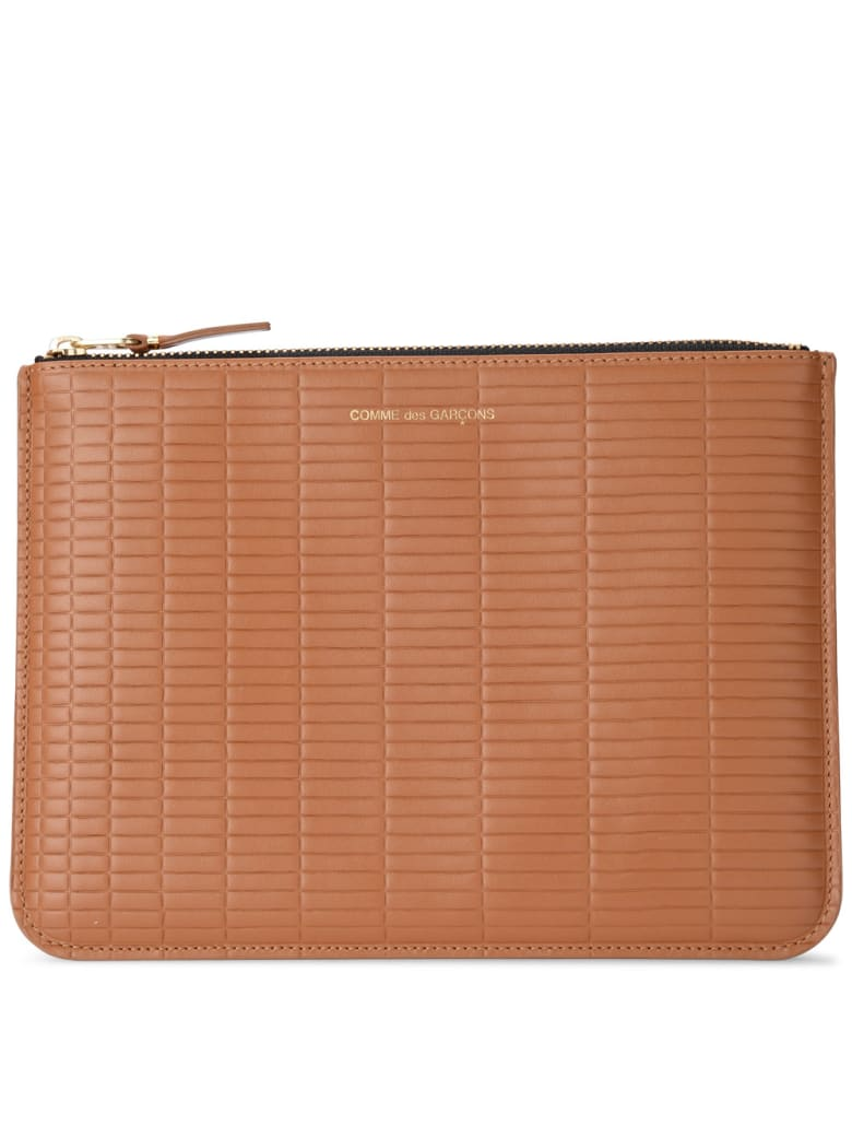 Comme des Garçons Wallet Brick Line Leather Purse - MARRONE