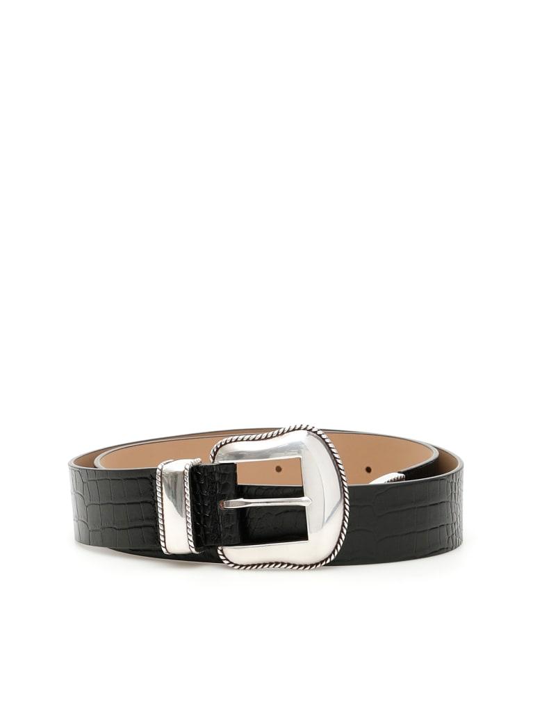B-Low the Belt Croc Print Villain Belt - BLACK SILVER (Black)