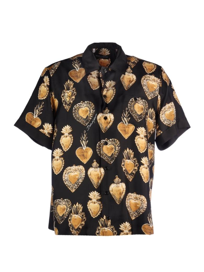 Dolce & Gabbana Cuore Sacro Silk Shirt - Black