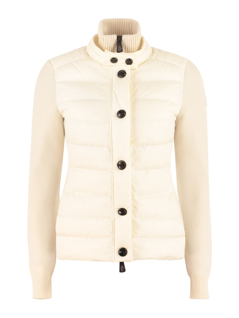 Moncler Grenoble Cardigan With Padded Front Panel - panna