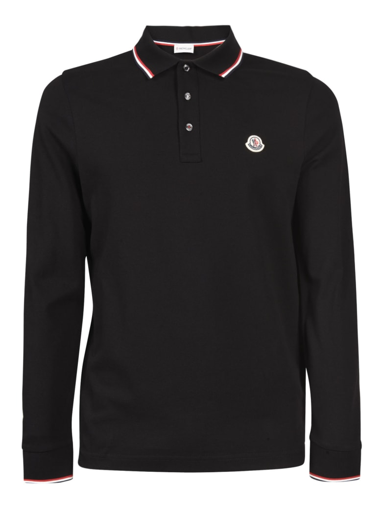 Moncler Long-sleeved Polo Shirt - Black