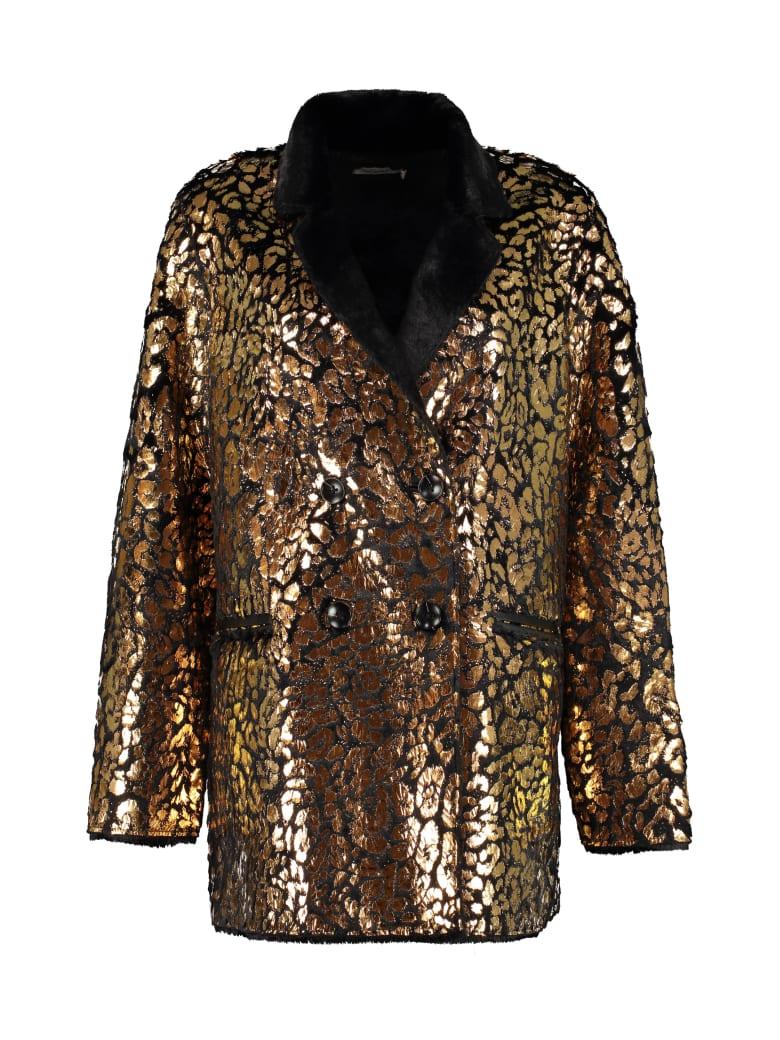 Mes Demoiselles Printed Faux Fur Coat - black