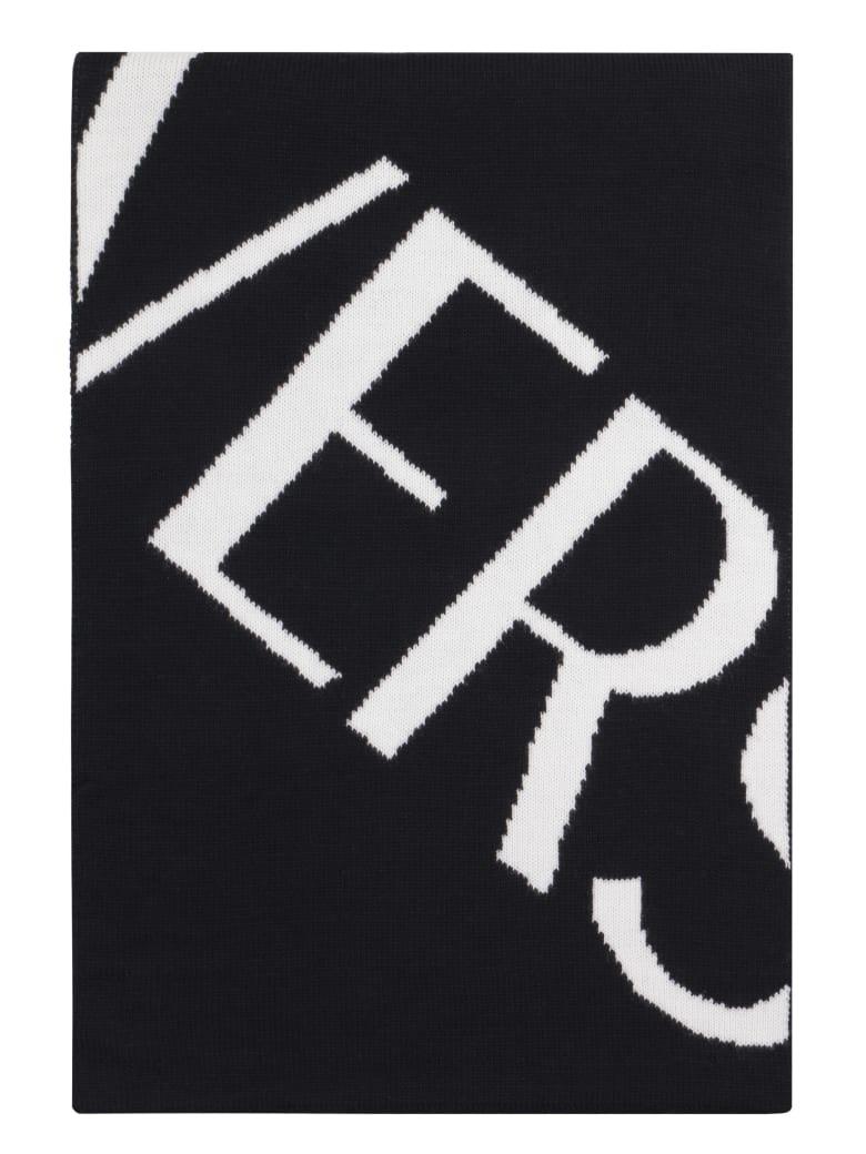 Versace Wool Scarf With Logo Intarsia - black