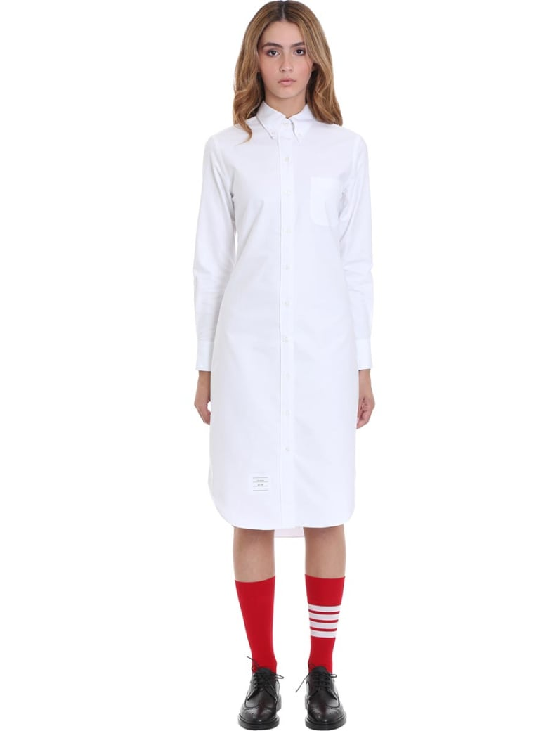Thom Browne Dress In White Cotton - white