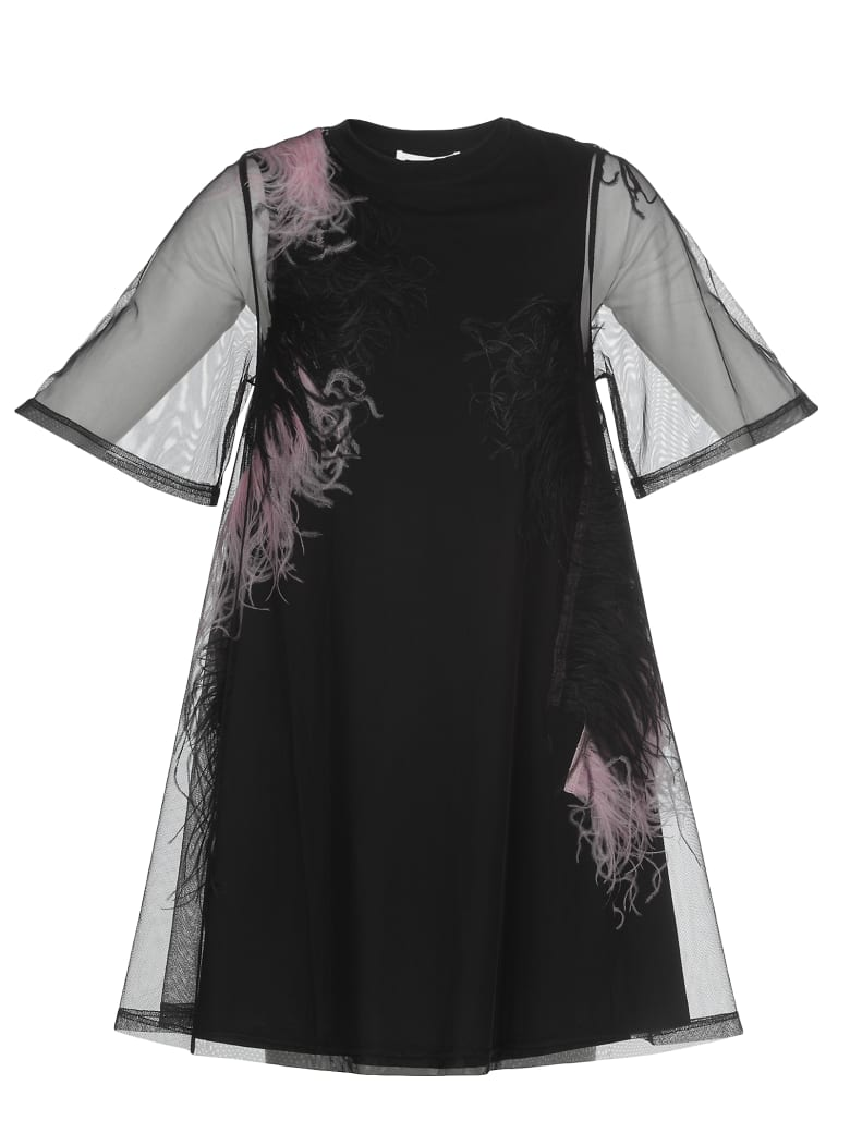 McQ Alexander McQueen Dress With Feathers - BLACK