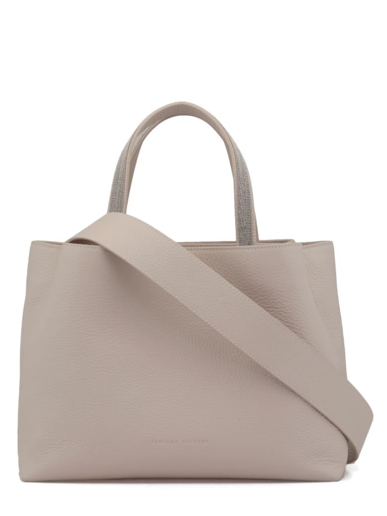 Fabiana Filippi Pebbled Leather Hand Bag - NATURAL