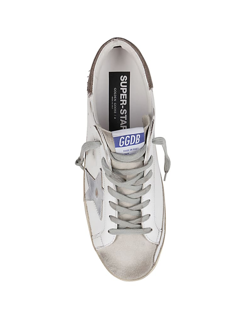 Golden Goose White Leather Super-star Sneakers - WHITE/ICE/SILVER/DARK BEIGE