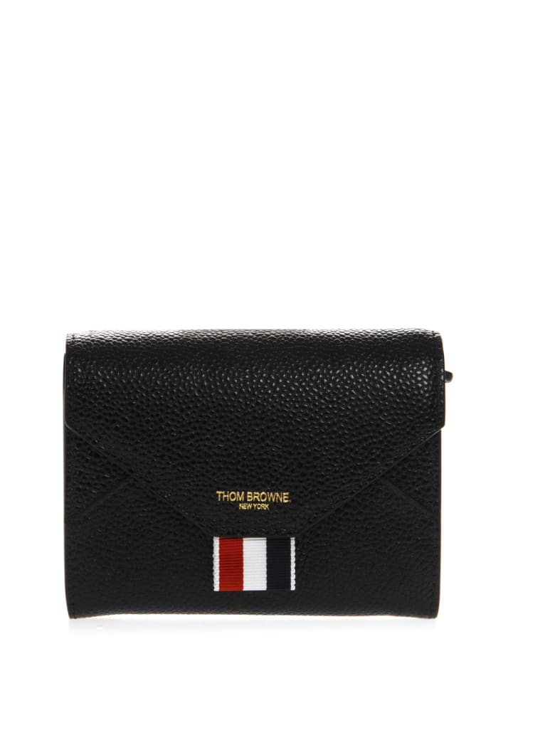 Thom Browne Black Leather Logo Wallet - Black