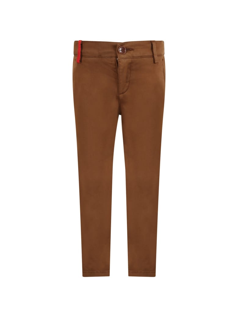 Fay Brown Pants For Boy With Logo - Brown