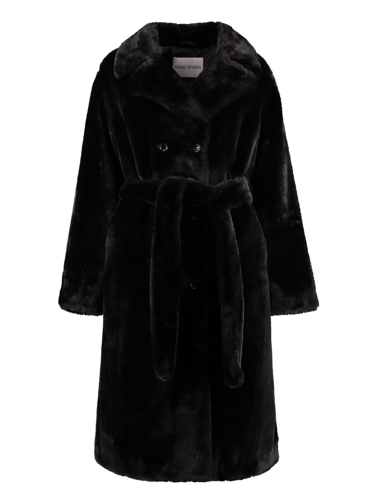 STAND STUDIO Faustine Faux Fur Coat - black