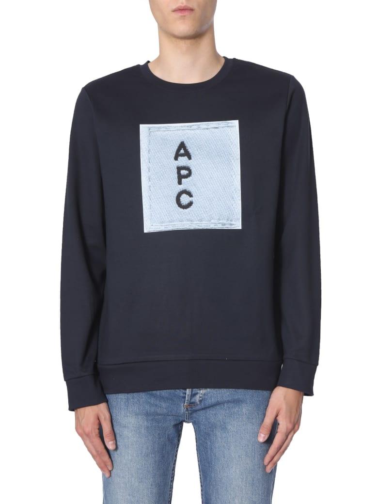 A.P.C. Sweatshirt With Logo Print - BLU