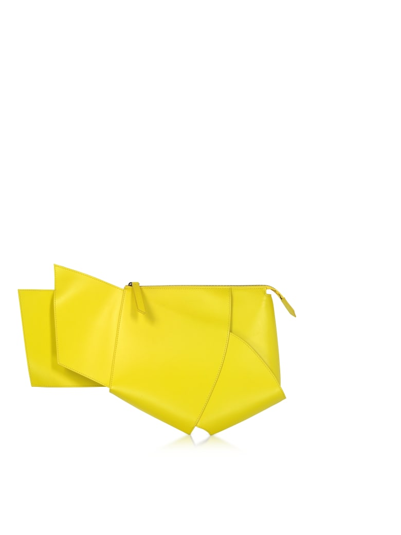 Giaquinto Ava Leather Clutch - Lime